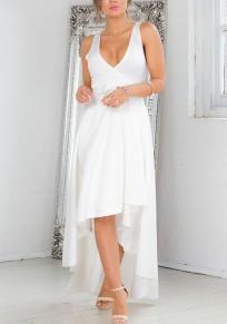 Weiß Schleife Unregelmäßig Vokuhila V-Ausschnitt Ärmellos Elegante Maxikleid Ballkleid Abendkleid