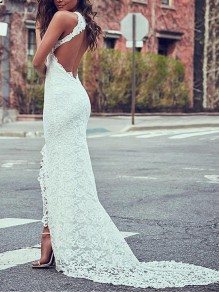 White Patchwork Lace Grenadine Cut Out Mermaid Slit Elegant Party Maxi Dress