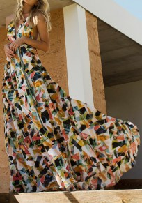 Brown As Showed Colorful Print Deep V-neck Flowy Elegant Party Maxi Dress