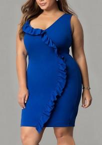 Blue Ruffle Asymmetric Shoulder Backless Plus Size Bodycon V-neck Elegant Party Midi Dress