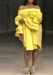 Yellow Cascading Ruffle Draped Irregular Bell Sleeve Off Shoulder Cute Party Midi Dress