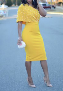 Yellow Beading Pearl Side Slit Asymmetric Shoulder Bodycon Elegant Party Midi Dress