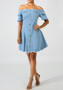Blue Single Breasted Ruffle Flutter Sleeve Off Shoulder Backless Sweet Party Midi Dress