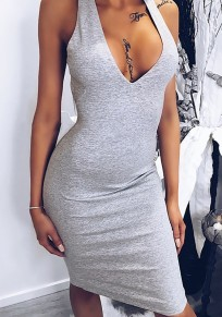 Grey Tie Back Condole Belt Backless V-neck Fashion Midi Dress