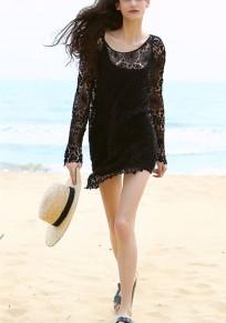 Black Cut Out Lace Ttrendy Mini Dresse