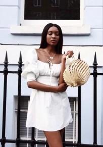 White Drawstring Ruffle Boat Neck Fashion Mini Dress