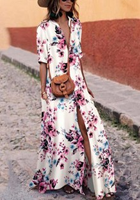 Weiß Blumen Schlitz Flowy V-Ausschnitt Bohemien Strandwear Partei Maxikleid