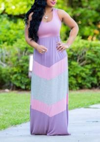 Purple Color Block Draped U-neck Beachwear Country Casual Party Maxi Dress