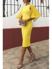 Yellow Ruffle Bodycon Bell Sleeve Elegant Office Worker/Daily Party Midi Dress