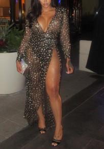 Schwarz Tupfen ausgeschnitten unregelmäßigen Schlitz tief V-Ausschnitt Vereinwear Partei Maxi Kleid