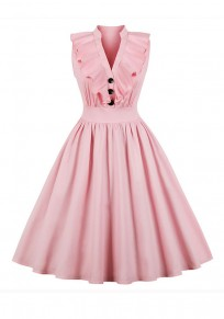 Pink Ruffle Pleated Single Breasted Tutu V-neck Elegant Party Midi Dress