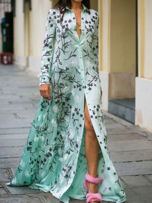 Green Floral Print Single Breasted Plus Size Turndown Collar Elegant Maxi Dress