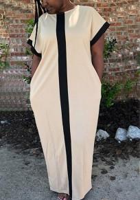 Beige-Black Patchwork Pockets Round Neck Oversized Casual Maxi Dress
