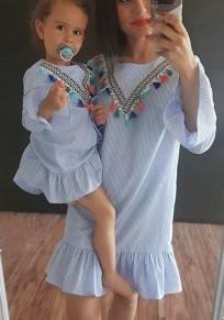 Mini-robe rayures à glissière à pompon col rond sans manches longues doux bleu