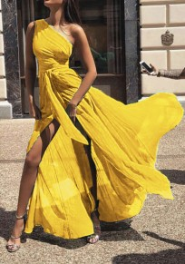 Yellow Asymmetric Shoulder Pleated Belt Slit Fashion Maxi Dress
