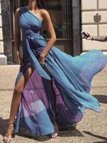 Blue Asymmetric Shoulder Pleated Belt Slit Flowy Fashion Maxi Dress