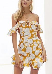 Mini robe fleuri à sans manches volantées coulissant épaule dos parti de retour à la maison élégant jaune