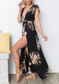 Black Floral Side Slit Deep V-neck Bohemian Elegant Party Maxi Dress