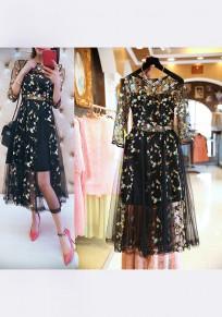Black Floral Print Grenadine Embroidery Long Sleeve Sweet Maxi Dress