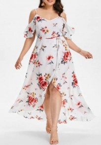 White Floral Sashes Slit Off Shoulder High-low Plus Size Deep V-neck Maxi Dress