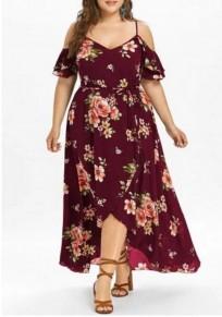 Burgundy Floral Print Sashes Slit Off Shoulder High-low High Waisted Plus Size Deep V-neck Maxi Dress