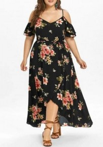 Black Floral Print Sashes Slit Off Shoulder High-low High Waisted Plus Size Deep V-neck Maxi Dress