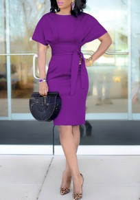Purple Sashes Knot Ruched Bodycon High Waisted Workersuit Elegant Party Midi Dress
