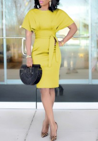 Yellow Sashes Knot Ruched Bodycon High Waisted Workersuit Elegant Party Midi Dress