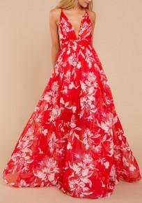 Red Floral Draped Spaghetti Strap Flowy Deep V-neck Bohemian Elegant Party Maxi Dress