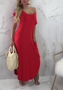 Red Pockets Side Slit Asymmetric Shoulder V-neck Casual Party Maxi Dress