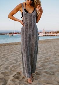 Grey Side Slit Cover-Up Bikini Smock U-neck Bohemian Party Maxi Dress