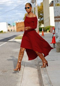 Red Draped Off Shoulder Long Sleeve Party Maxi Dress