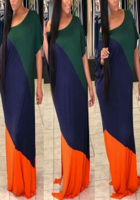 Green Color Block Draped Plus Size Double Slit Casual Maxi Dress