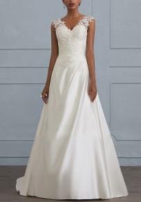 Weiße Spitze V-Ausschnitt Rückenfreies Elegante Partykleid Maxikleid Lange Abendkleid Für Hochzeit