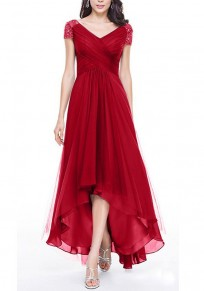Red Mosaic Rhinestone Draped Irregular V-neck Banquet Party Elegant Maxi Dress
