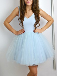 Light Blue Patchwork Grenadine Pleated Fluffy Puffy Tulle Deep V-neck Party Mini Dress