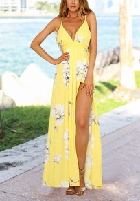 Yellow Floral Slit Spaghetti Strap Flowy Deep V-neck Bohemian Country Party Maxi Dress