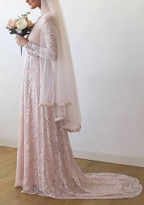 Robe longue en dentelle v-cou manches longues élégant de soirée pour mariage rose