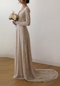 Beige Draped Lace Off Shoulder V-neck Elegant Widding Party Maxi Dress