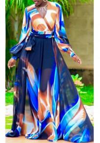 Blue Tribal Floral Print Sashes Draped V-neck Bohemian Party Chiffon Maxi Dress