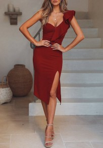 Burgundy Ruffle Asymmetric Shoulder Side Slit Bodycon Elegant Banquet Party Midi Dress