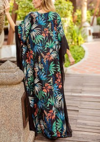 Black Floral Pattern Cut Out Grenadine Side Slit Maxi Dress