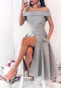 Grey Pockets Backless Off Shoulder Slit Pleated Elegant Graduation Party Maxi Dress