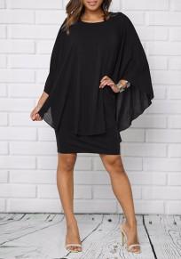 Black Ruffle Double-deck Round Neck Fashion Mini Dress