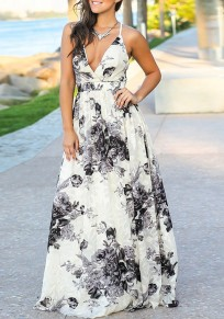 Black Floral Spaghetti Strap Lace-up Draped Bohemian V-neck Beachwear Party Maxi Dress