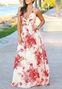 Red Floral Spaghetti Strap Lace-up Draped Bohemian V-neck Beachwear Party Maxi Dress