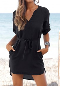 Black Sashes Pockets Buttons V-neck Fashion Mini Dress