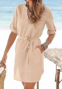 Khaki Schärpen Taschen Tasten V-Ausschnitt Mode Mini Dress