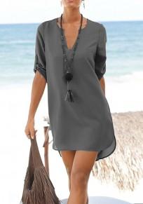 Grau Schärpen Taschen Knöpfe V-Ausschnitt Mode Mini Dress