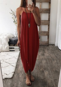 Red Draped Irregular Spaghetti Strap Fashion Maxi Dress